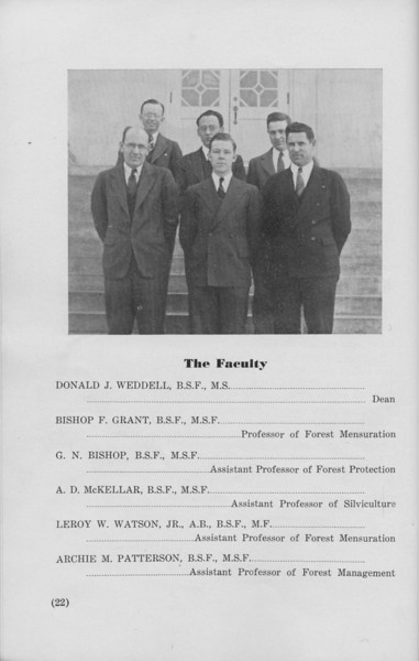 The Cypress Knee, 1940, The Faculty, Donald J. Weddell, Bishop F. Grant, G. N. Bishop, A. D. McKellar, Leroy W. Watson, Archie M. Patterson, pg. 22