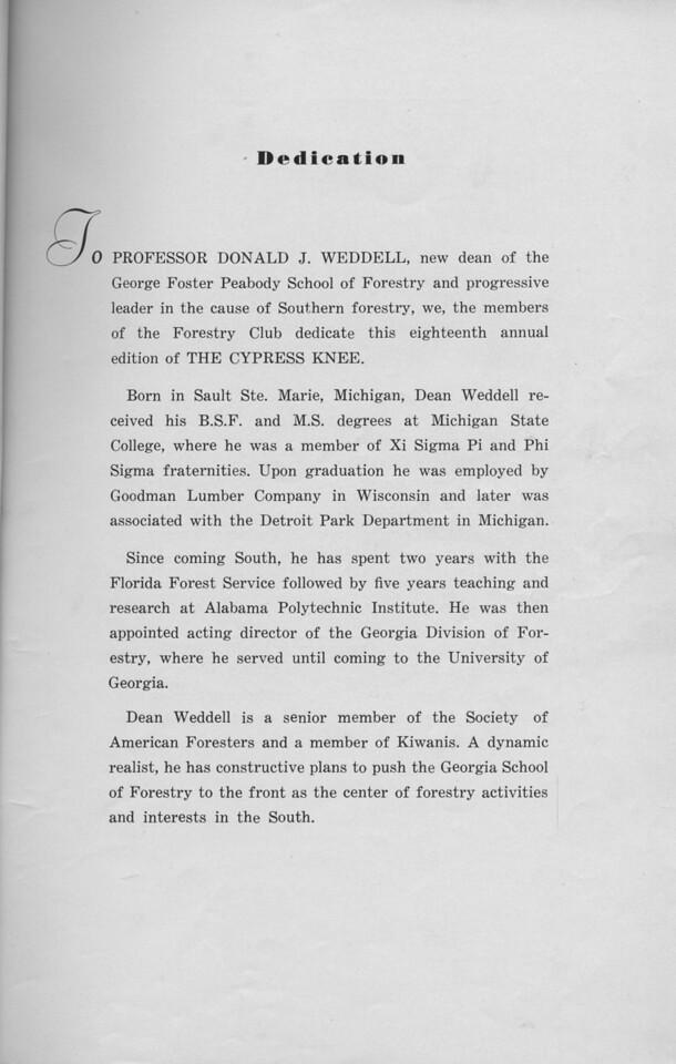 The Cypress Knee, 1940, Dedication, Donald J. Weddell, pg. 5