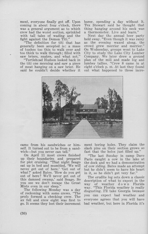"""The Cypress Knee, 1940, """"Senior Spring Camp"""" (continued), pg. 30"""