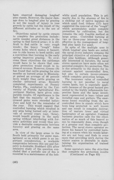 """The Cypress Knee, 1940 """"Controlled Burning and the Management of Longleaf Pine' (continued), Leroy Watson, pg. 46"""