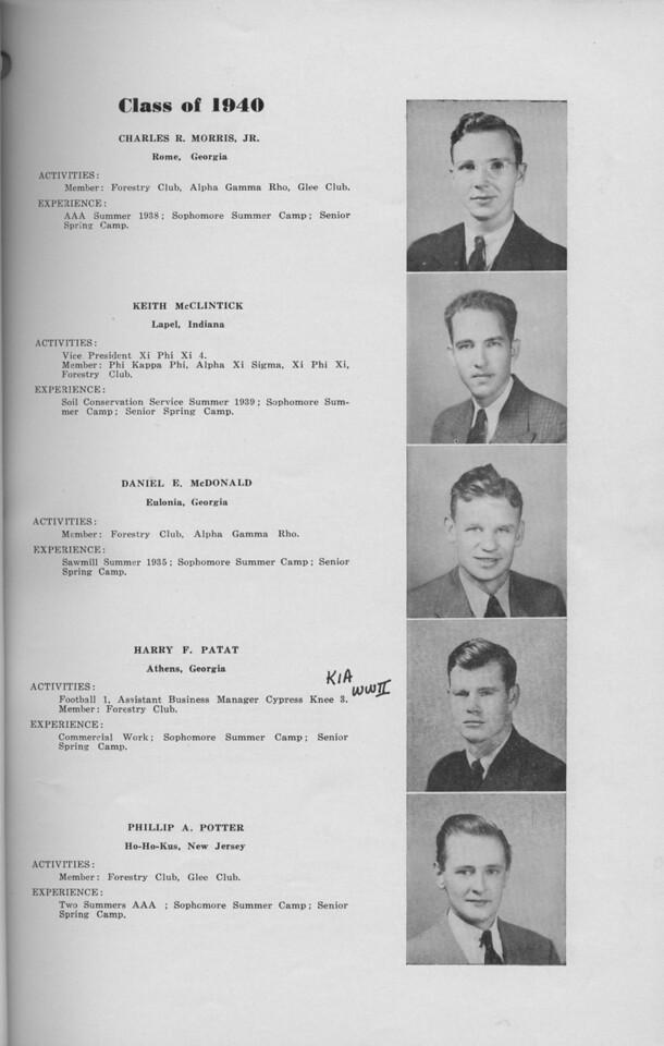 The Cypress Knee, 1940, Class of 1940, Charles R. Morris, Keith McClintick, Daniel E. McDonald, Harry F. Patat, Phillip A. Potter, pg. 13