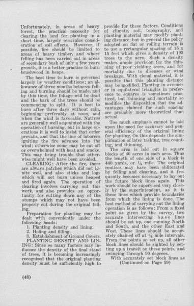"""The Cypress Knee, 1940, """"Preparatory Operations in the Planting of Rubber"""" (continued), J. B. Fisher, pg. 48"""