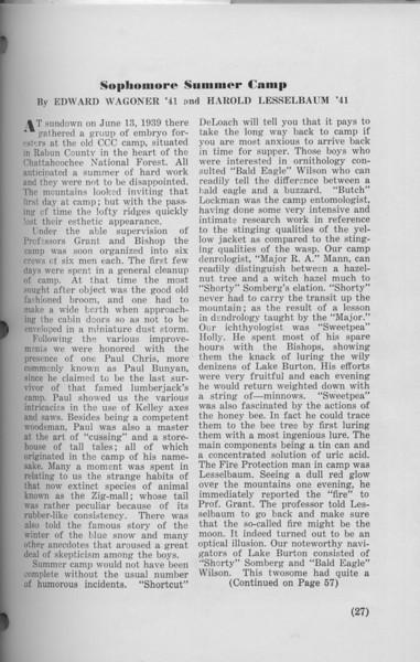 "The Cypress Knee, 1940, ""Sophomore Summer Camp"", Edward Wagoner, Harold Lesselbaum, pg. 27"
