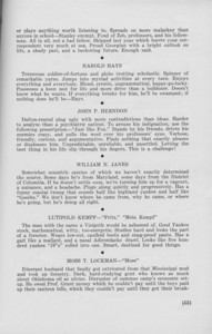"""The Cypress Knee, 1940, """"The Consensus"""" (continued), Harold Hays, John P. Herndon, William N. Janes, Lutipold Kempf, Moss T. Lockman, pg. 53"""