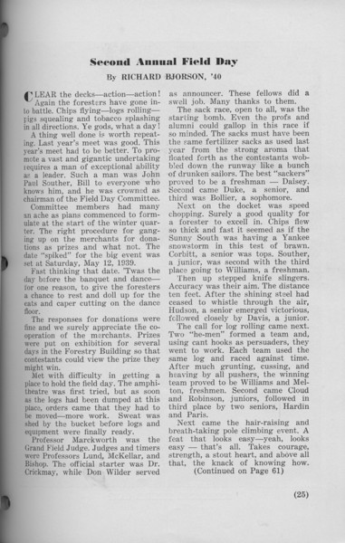 "The Cypress Knee, 1940, ""Second Annual Field Day"", Richard Bjorson, pg. 25"