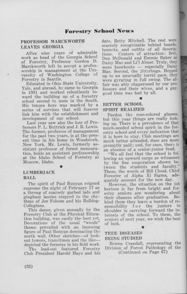 """The Cypress Knee, 1940, Forestry School News, """"Professor Marckworth Leaves Georgia"""", """"Lumberjack Ball"""", """"Better School Spirit Realized"""", """"Tree Diseases Being Studied"""", pg. 32"""