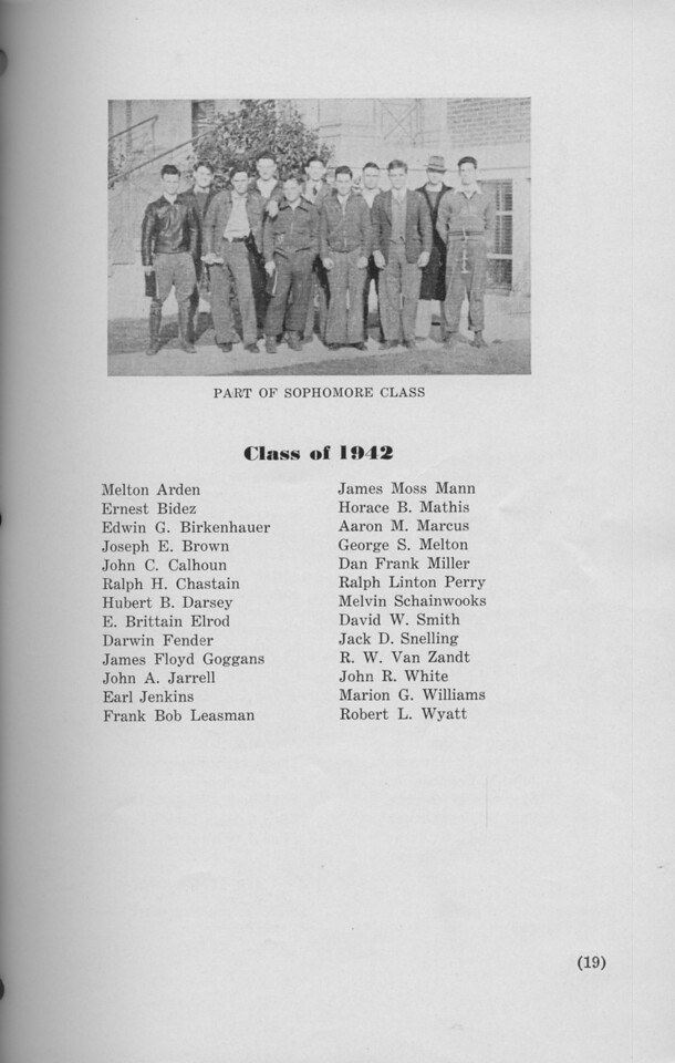 The Cypress Knee, 1940, Class of 1942, Sophomore Class, pg. 19
