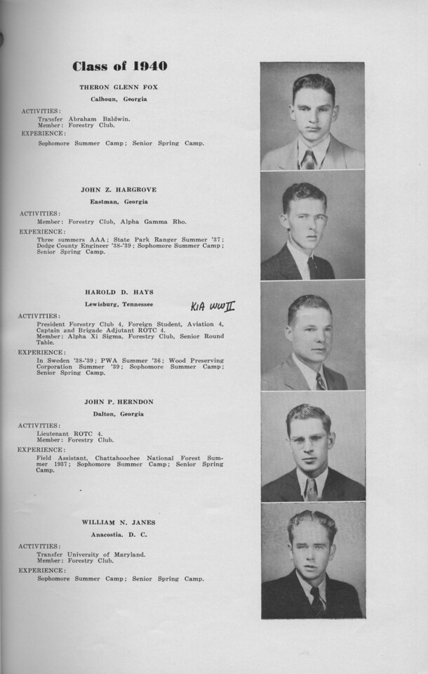 The Cypress Knee, 1940, Class of 1940, Theron Glenn Fox, John Z. Hargrove, Harold D. Hays, John P. Herndon, William N. Janes, pg. 11