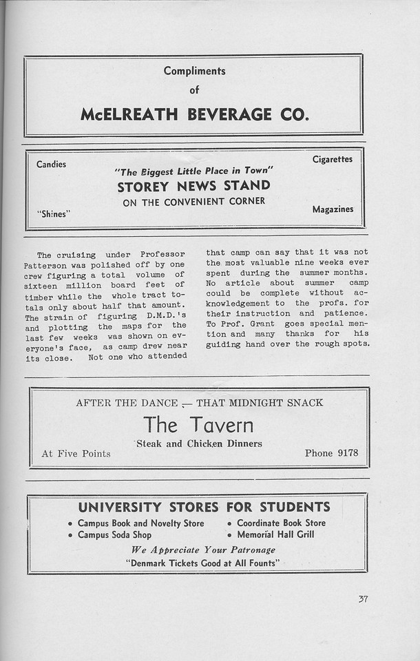 The Cypress Knee, 1942, Sophomore Summer Camp '41 (continued), McElreath Beverage Co., Storey News Stand, The Tavern, University Stores for Students, pg. 37
