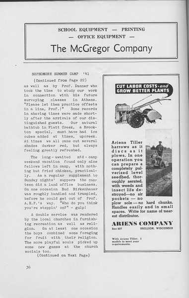 The Cypress Knee, 1942, Sophomore Summer Camp '41 (continued), The McGregor Compan, Ariens Company, pg. 36
