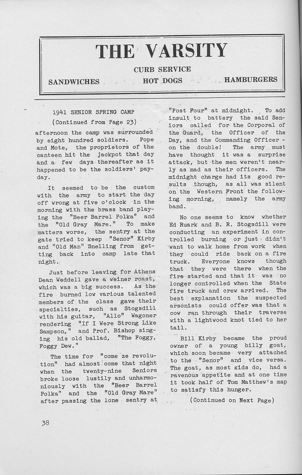 The Cypress Knee, 1942, 1941 Senior Spring Camp (continued), The Varsity, pg. 38