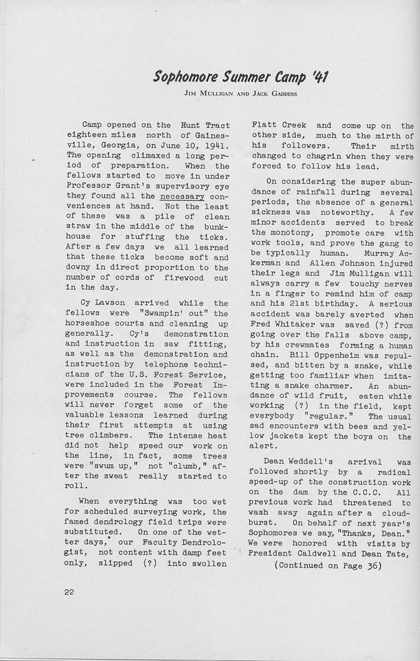 "The Cypress Knee, 1942, ""Sophomore Summer Camp '41"", Jim MUlligan, Jack Gaddess, pg. 22"