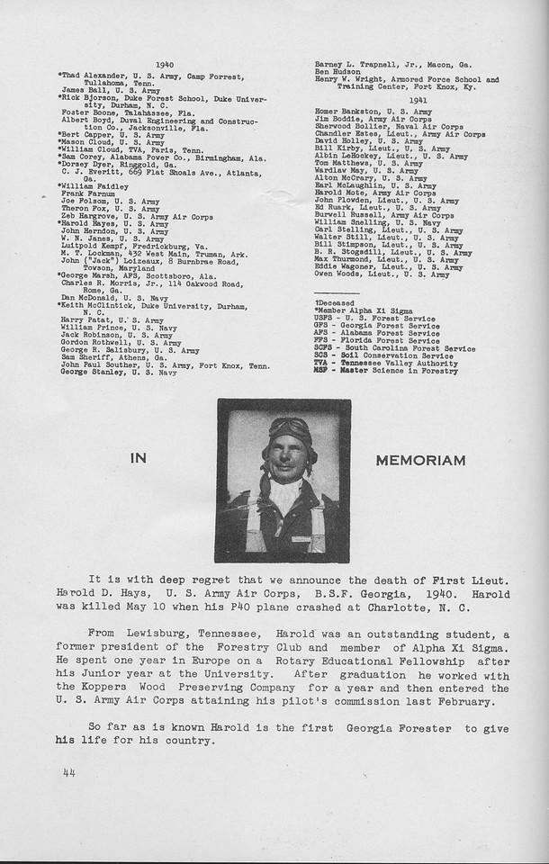 The Cypress Knee, 1942, Alumni Directory, In Memoriam, Harold D. Hays, pg. 44