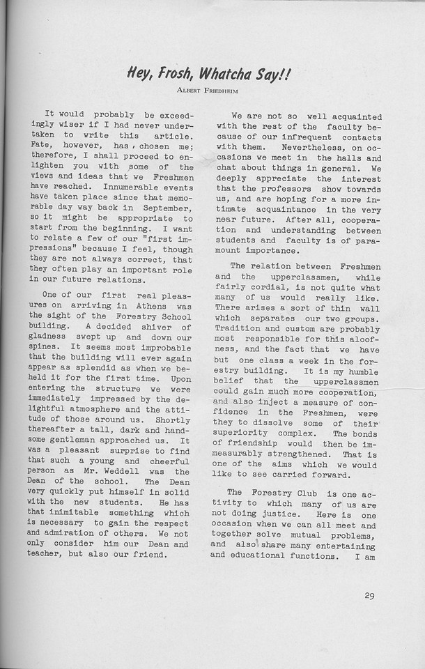 "The Cypress Knee, 1942, ""Hey, Frosh, Whatcha Say!!"", Albert Friedheim, pg. 29"