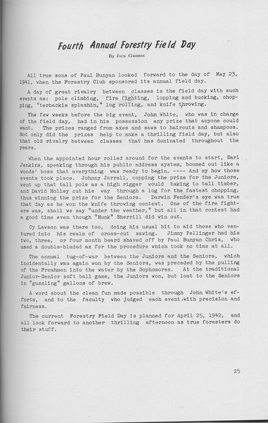 "The Cypress Knee, 1942, ""Fourth Annual Forestry Field Day"", Jack Gaddess, pg. 25"