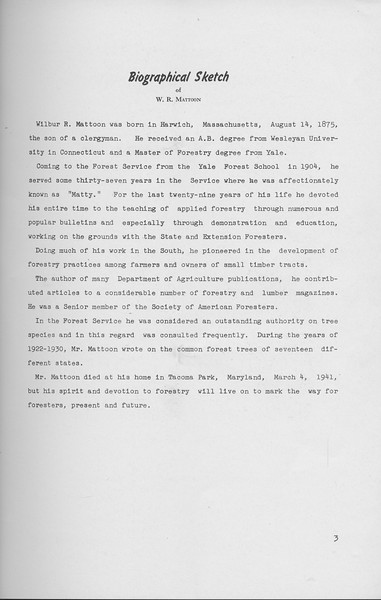 The Cypress Knee, 1941, Dedication, Wilbur R. Mattoon, pg. 3