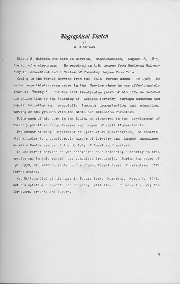 The Cypress Knee, 1941, Dedication, Wilbur R. Mattoon, pg. 3