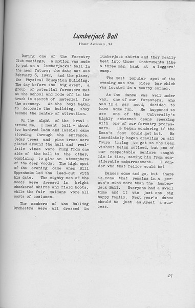 The Cypress Knee, 1942, Lumberjack Ball, Harry Avedisian, pg. 27