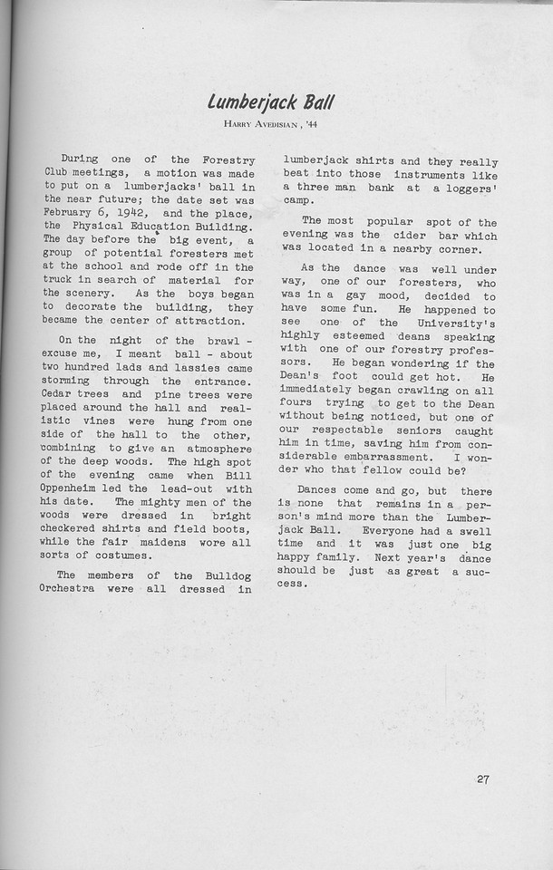 The Cypress Knee, 1942, Lumberjack Ball, Harry Avedisian, pg. 27