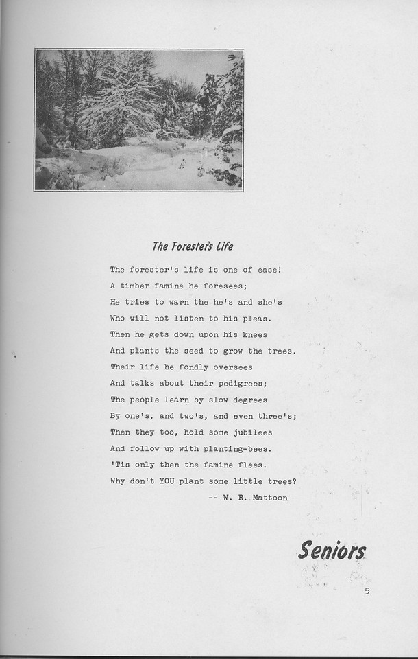 """The Cypress Knee, 1942, """"The Forester's Life"""", W. R. Mattoon, Seniors, pg. 5"""