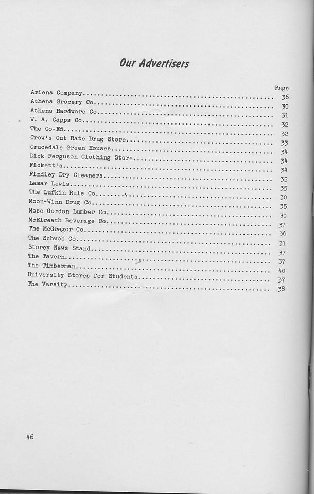 The Cypress Knee, 1942, List of Advertisers, pg. 46