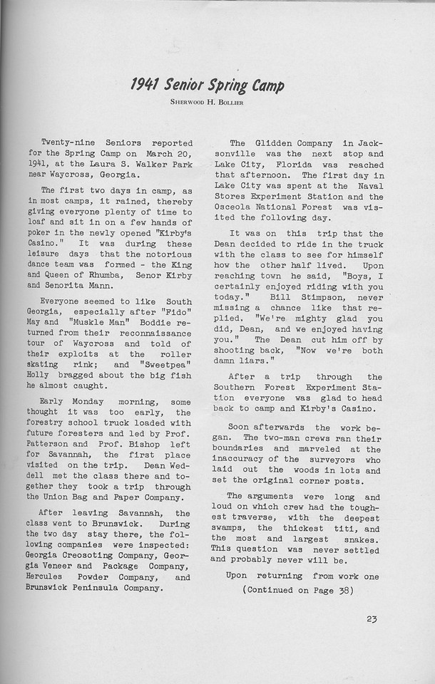 "The Cypress Knee, 1942, ""1941 Senior Spring Camp"", Sherwood H. Bollier, pg. 23"