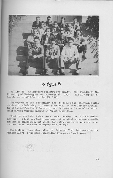 The Cypress Knee, 1942, Xi Sigma Pi, pg. 15