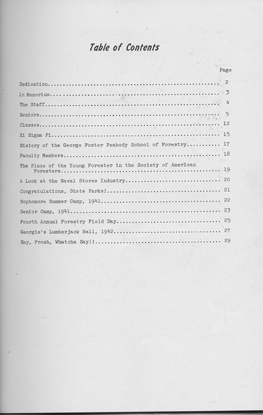 The Cypress Knee, 1942, Table of Contents, pg. 1
