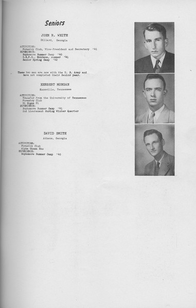 The Cypress Knee, 1942, Seniors, John R. White, Herbert Morgan, David Smith, pg. 11