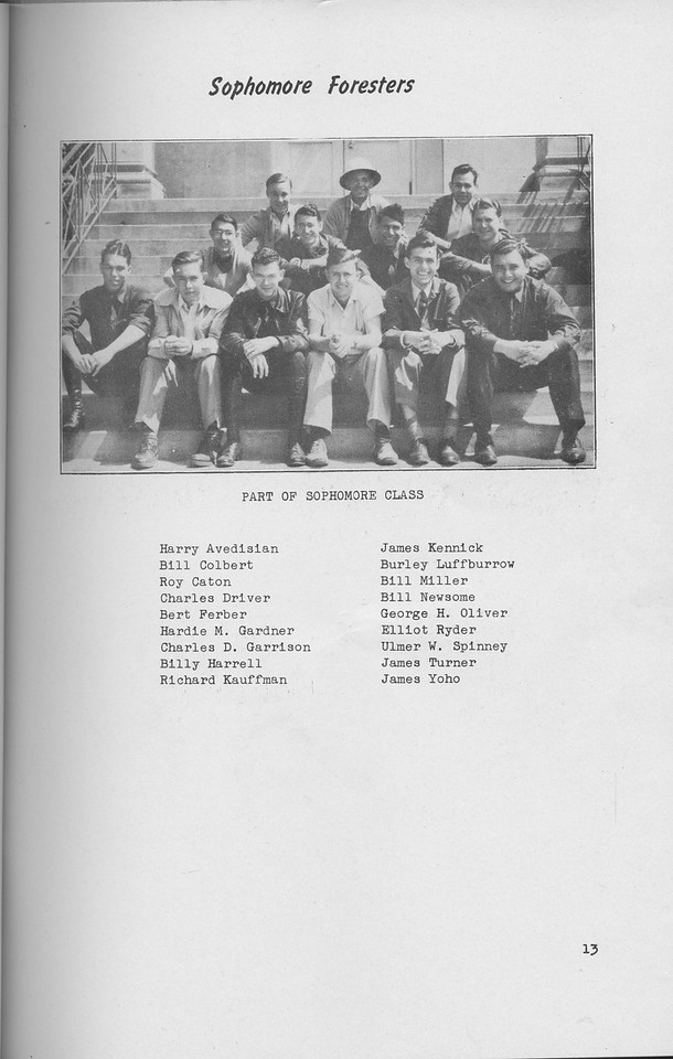 The Cypress Knee, 1941, Sophomore Foresters, pg. 13
