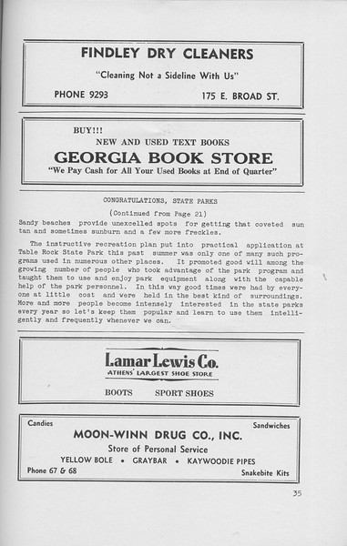 "The Cypress Knee, 1942, ""Congratulations, State Parks"" (continued), Findley Dry Cleaners, Georgia Book Store, Lamar-Lewis Co., Moon-Winn Drug Co. Inc., pg. 35"
