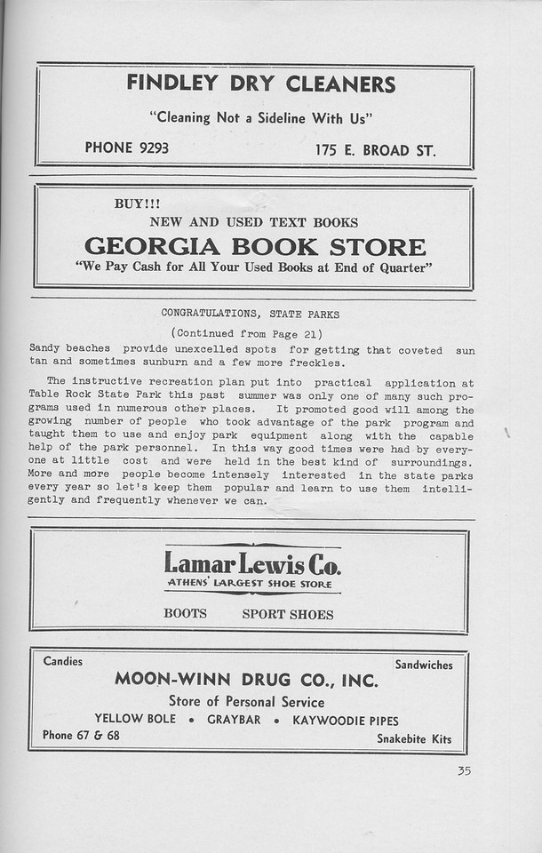 """The Cypress Knee, 1942, """"Congratulations, State Parks"""" (continued), Findley Dry Cleaners, Georgia Book Store, Lamar-Lewis Co., Moon-Winn Drug Co. Inc., pg. 35"""