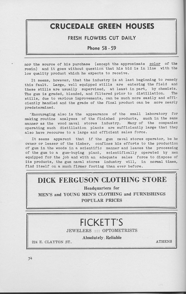 """The Cypress Knee, 1942, """"A Look at the Naval Stores Industry"""" (continued), Crucedale Green Houses, Dick Ferguson Clothing Store, Fickett's, pg. 34"""