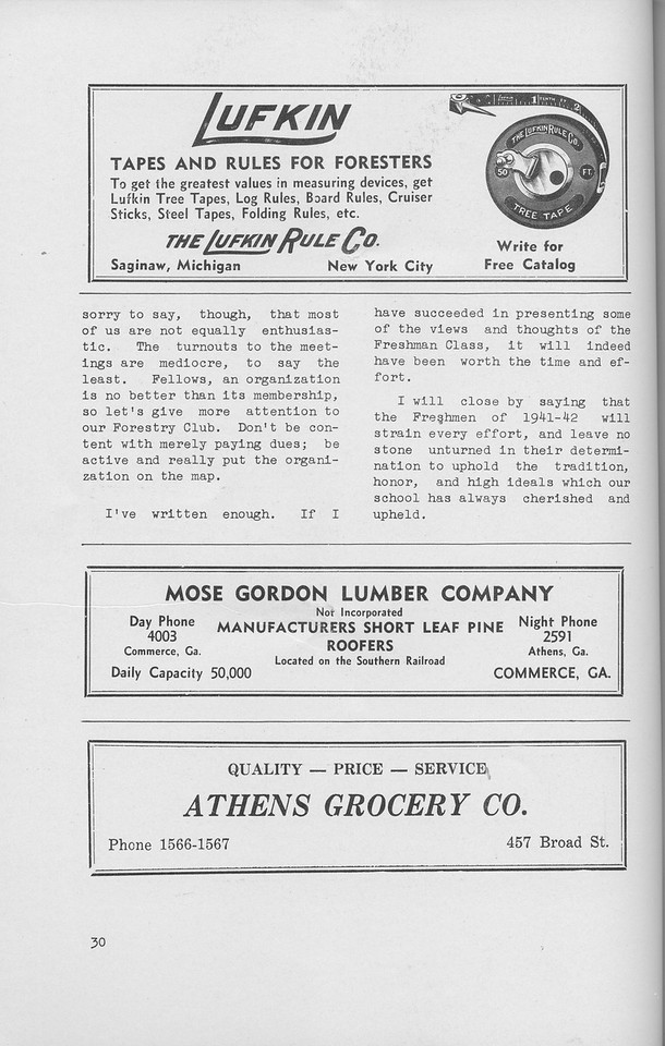 """The Cypress Knee, 1942, """"Hey, Frosh, Whatcha Say!!"""" (continued), The Lufkin Rule Co., Mose Gordon Lumber Company, Athens Grocery, pg. 30"""