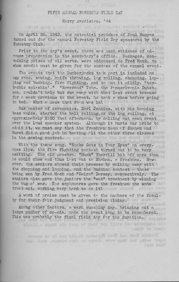 The Cypress Knee, 1943, Fifth Annual Forestry Field Day, Harry Avedisian, pg. 17