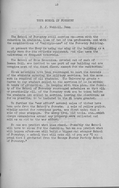 "The Cypress Knee, 1943, ""Your School of Forestry"", D. J. Weddel, pg. 13"