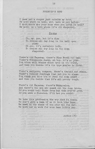 """The Cypress Knee, 1943, """"Forester's Song"""", pg. 12"""