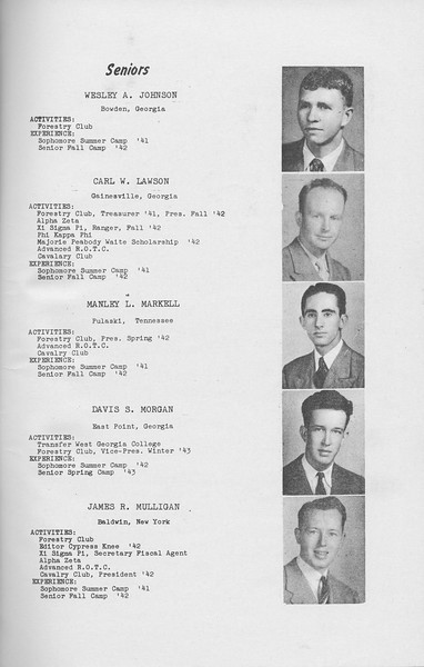 The Cypress Knee, 1943, Seniors, Wesley A. Johnsn, Carl W. Lawson, Manley L. Markell, Davis S. Morgan, James R. Mulligan, pg. 7