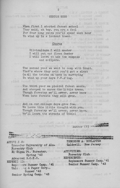 The Cypress Knee, 1943, Senior Song, Theodore A. Schlapfer, pg. 9