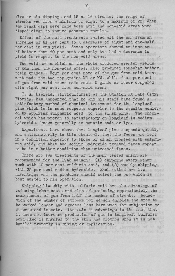 """The Cypress Knee, 1943, """"Chemical Stimulation in the Naval Stores Industry"""" (continued), William F. Miller, pg. 21"""
