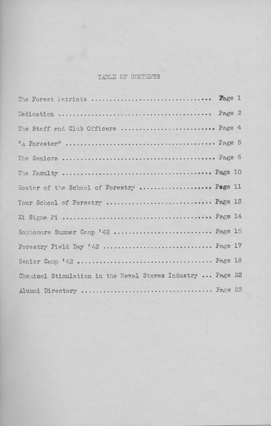 The Cypress Knee, 1943, Table of Contents, pg. 2