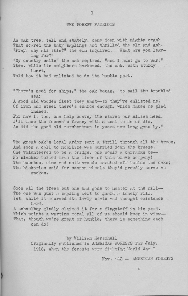 """The Cypress Knee, 1943, """"The Forest Patriots"""", William Herschell, pg. 1"""