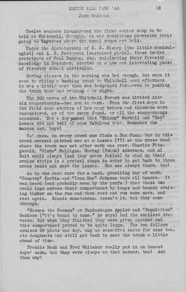 "The Cypress Knee, 1943, ""Senior Fall Camp '42"", Jack Geddoss, pg. 18"