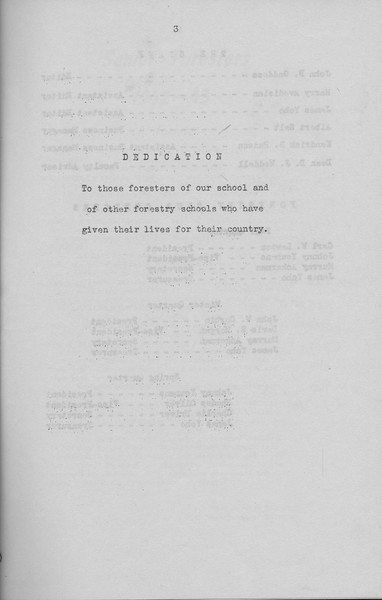 The Cypress Knee, 1943, Dedication, pg. 3