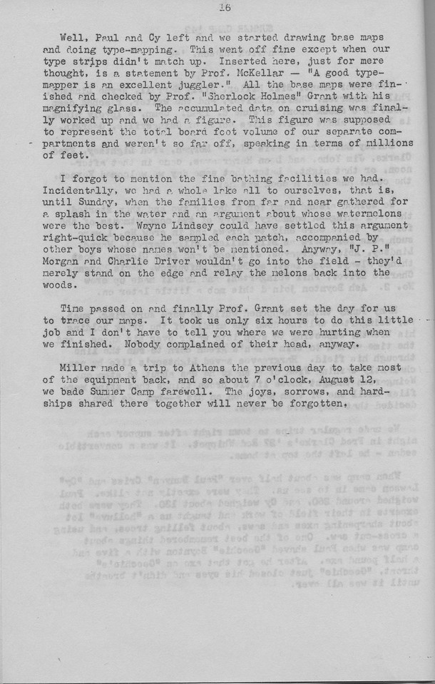 """The Cypress Knee, 1943, """"Summer Camp '42"""" (continued), Kendrick Hudson, pg. 16"""