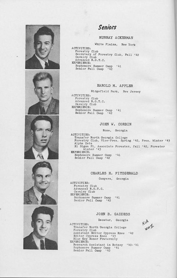 The Cypress Knee, 1943, Seniors, Murray Ackerman, Harold M. Appler, John W. Corbin, Charles H. Fitzgerald, John B. Gaddess, pg. 6