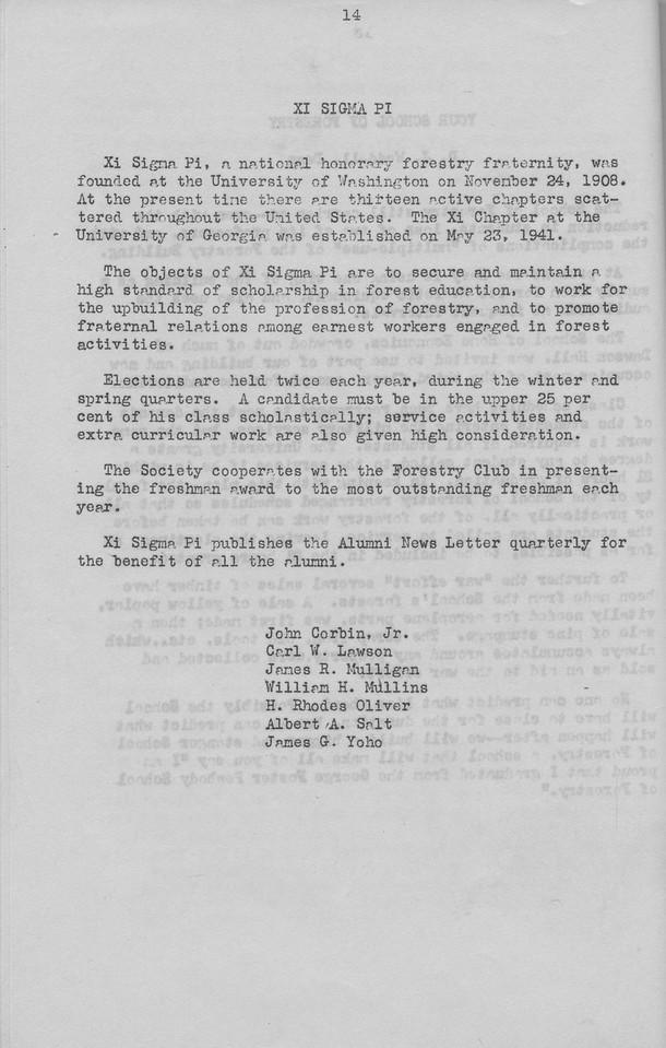 The Cypress Knee, 1943, Xi Sigma Pi, pg. 14