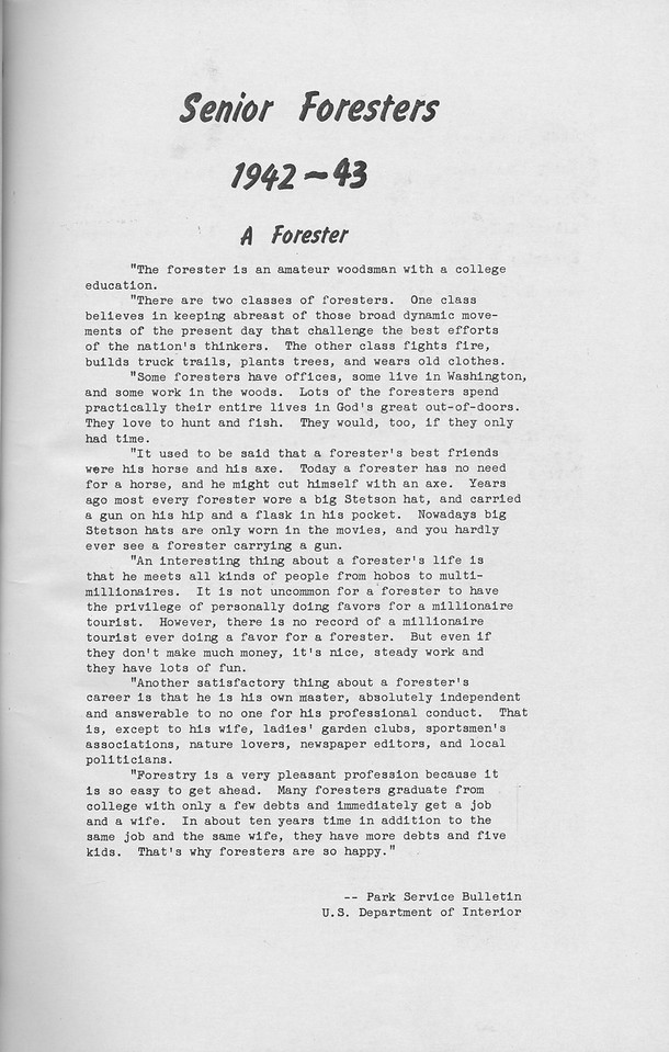"""The Cypress Knee, 1943, Senior Foresters, """"A Forester"""", Park Service Bulletin, pg. 5"""