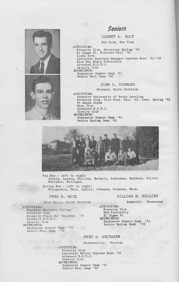 The Cypress Knee, 1943, Seniors, Albert A. Salt, John A. Youmans, Fred M. Mack, William H. Mullins, Fred S. Whitaker, pg. 8