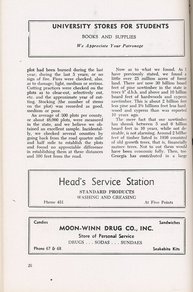 """The Cypress Knee, 1946, """"A Report on the Georgia Forest Survey"""" (continued), B. F. Grant, University Stores for Students, Head's Service Station, Moon-Winn Drug Co., pg. 26"""